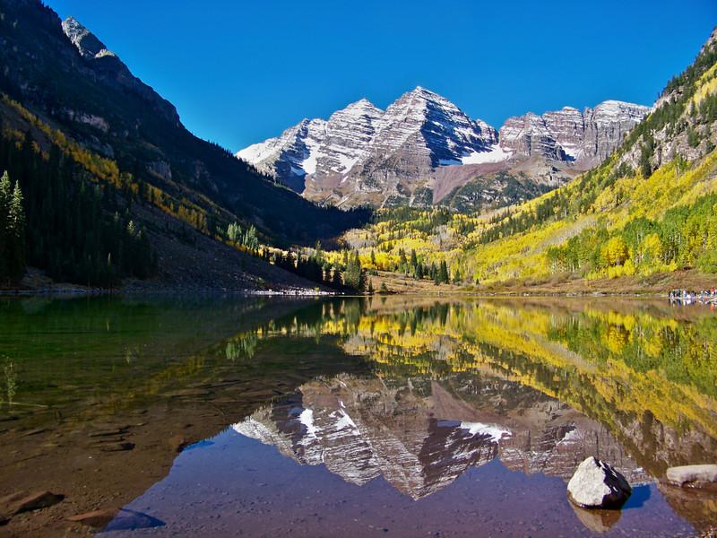 The Maroon Bells autumn reflection #2; Colorado Elk Range.