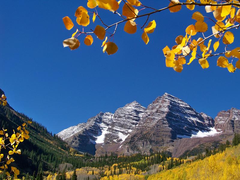 The Bells in autumn, Colorado Elk Range.