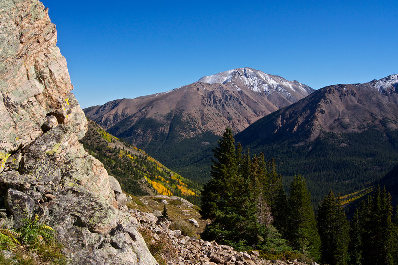 Colorado's highest peak, Mount Elbert (14,433 ft.), viewed from the southwest slopes of Mt. Massive; Colorado Sawatch Range.