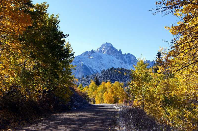 East Dallas Creek Road leading into the Mount Sneffels Wilderness, Colorado San Juan Range.