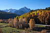 Mount Sneffels forms a stark backdrop to this serene meadow along Dallas Creek Road; Colorado San Juan Mountains.