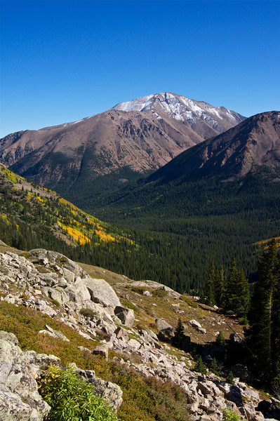 Mount Elbert's northwest face at the start of fall; viewed from the southwest slopes of Mt. Massive; Colorado Sawatch Range.