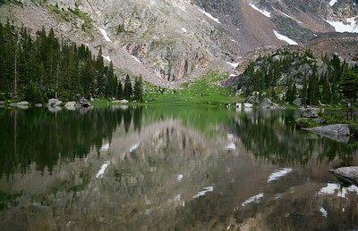 Talus reflections on Columbine Lake