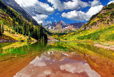 Maroon Bells Reflection, September 19, 2008 Nikon D200 12-24mm lens @ 14mm  f/22-1/13sec
