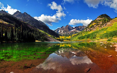 Maroon Bells, September 16th 2008 This image is a panorama; three images stitched together to form one using PANORAMA STUDIO software.  It is 23MB in size.