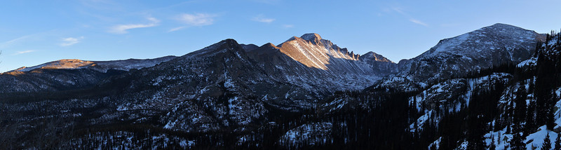 Panoramic view of Longs Peak from the Emerald Lake trail on a clear, cold December day; Rocky Mountain National Park, Colorado.