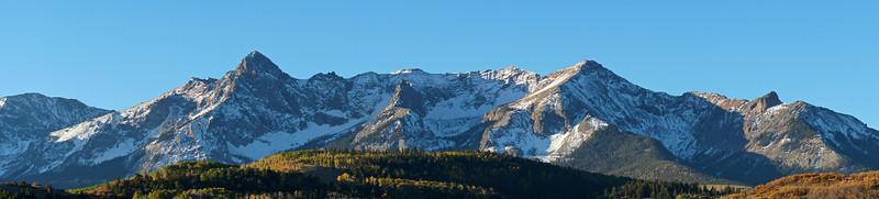 Morning sunshine in late autumn at the Dallas Divide, Colorado San Juan Range.