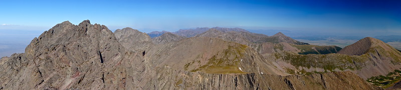 Panoramic view of Crestone Peak with 14ers Challenger Point and Kit Carson Peak behind in the distance; Colorado Sangre de Cristo Range.