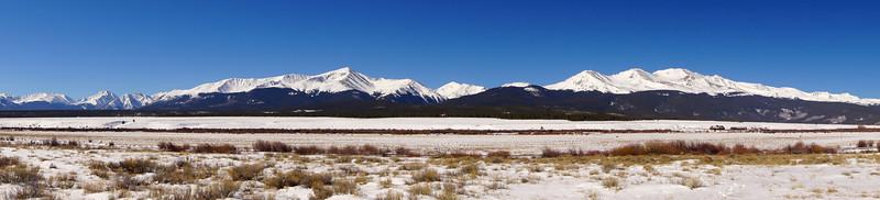 Twin towers.  Colorado's two highest peaks, Mt. Elbert and Mt. Massive; Colorado Sawatch Range.