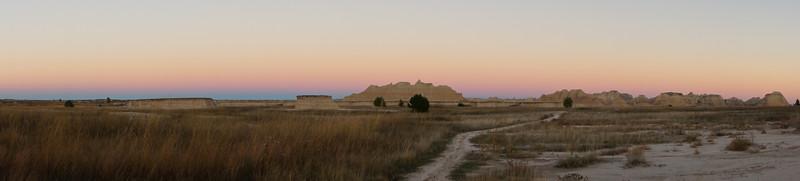 Twilight skyline from the Castle Trail; Badlands, South Dakota.