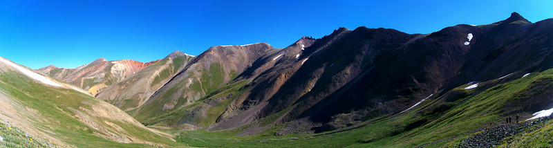 Panoramic view of the Silver Creek valley beneath Redcloud's northwest slopes; Colorado San Juan Range.