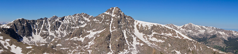 "Panoramic view of Mount of the Holy Cross and the ""Halo Ridge"" approach (left half of the photo); viewed from the summit of Notch Mountain (13,248 ft.); Colorado Sawatch Range."