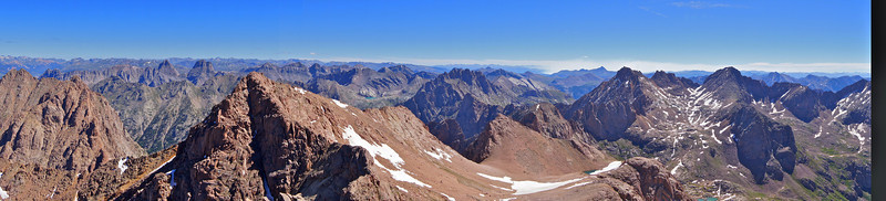 Panoramic view northeast from the summit of Mount Eolus; Colorado San Juan Range
