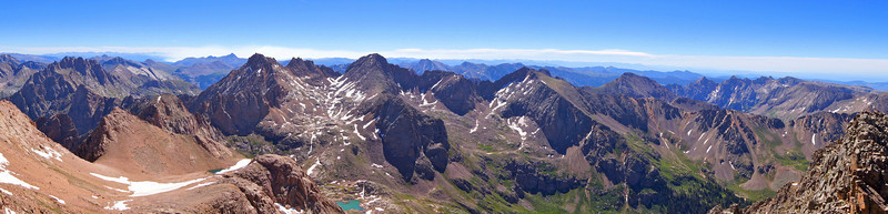 Panoramic view east from the summit of Mount Eolus; Colorado San Juan Range