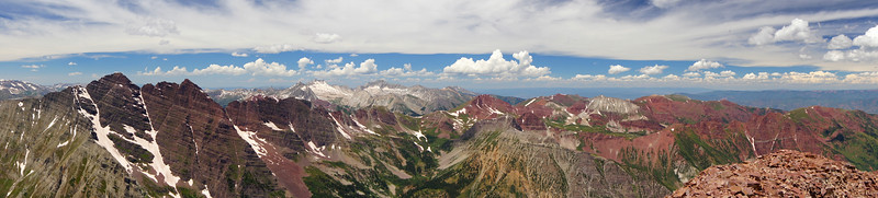 Panoramic view northwest from the summit of Pyramid Peak; Colorado Elk Range.