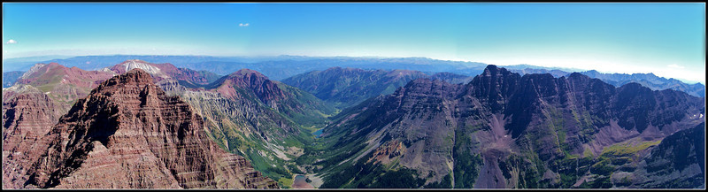 North Maroon, Pyramid Peak and the Maroon Creek valley viewed from the summit of Maroon Peak