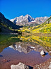 Autumn reflection on the clear water of Maroon Lake; Colorado Elk Range.
