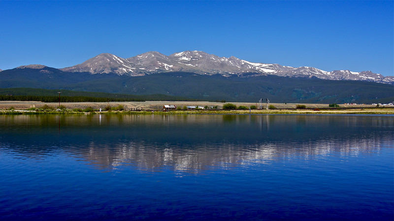 Mount Massive, Colorado's 2nd highest peak, reflects off the clear waters of Crystal Lakes, just south of Leadville; Colorado Sawatch Range.