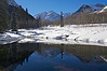 The Maroon Bells winter pond reflection #2; Colorado Elk Range.