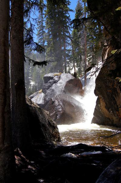 A clear, shady pool halfway up Ouzel Falls, Rocky Mountain National Park, Colorado.