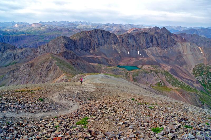 Descending the southwest ridge of Handies Peak toward Sloan Lake; Colorado San Juan Range.