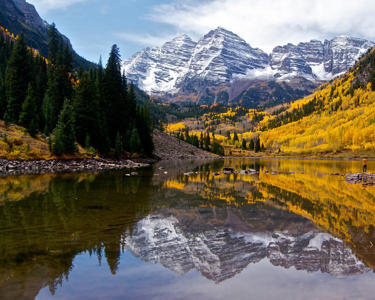 The Maroon Bells autumn reflection #1; Colorado Elk Range.