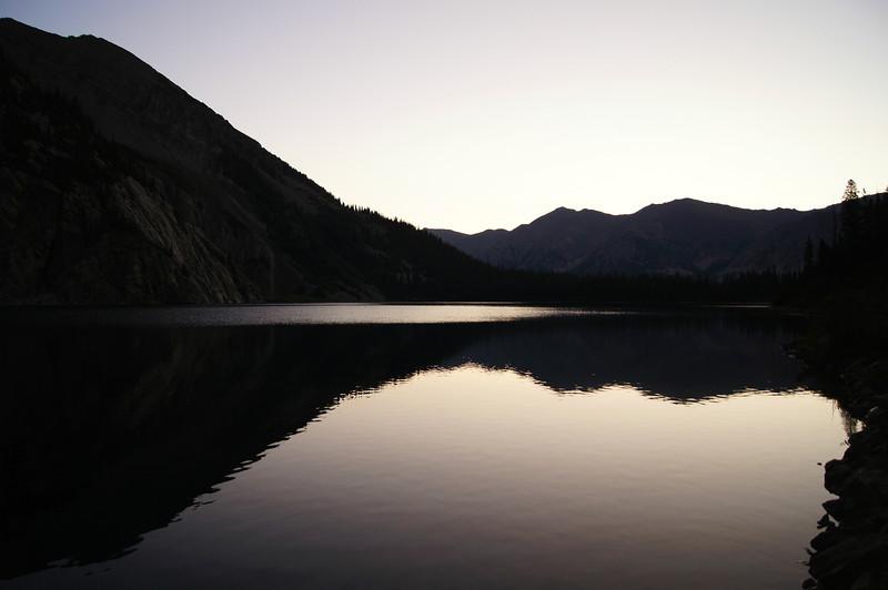 Predawn reflection on Snowmass Lake, Colorado Elk Range