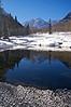The Maroon Bells winter pond reflection #3; Colorado Elk Range.