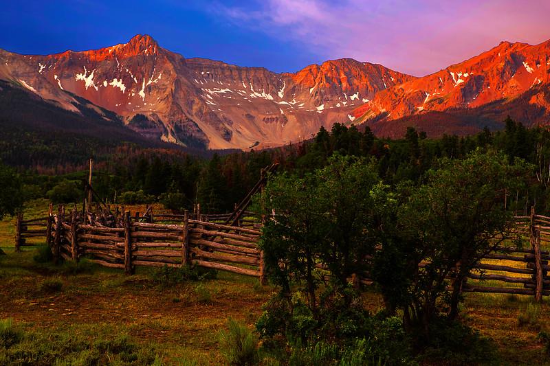Colorado, Ridgway, West Dallas Creek Road , Mount Sneffels, Sunrise