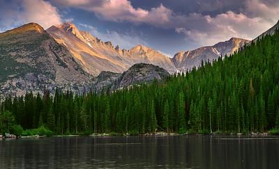 Colorado, Rocky Mountain National Park, Bear Lake, Sunset