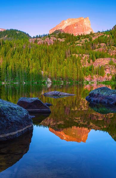 Colorado, Rocky Mountain National Park, Bear Lake, Sunrise