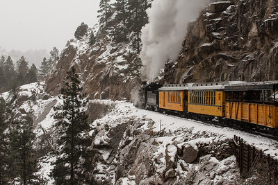 The train track was laid along the sides of Cascade Canyon, above the Animas River.