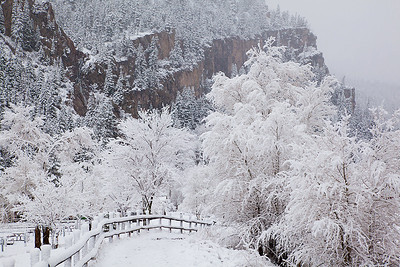 (SJ-11012)  Snowy day in Ouray; San Juan Mountains, Colorado.