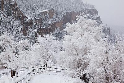 (SJ-11012)  Snowy day in Ouray; San Juan Mountains, Colorado.