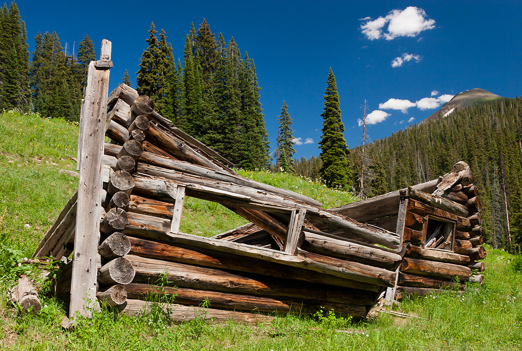 (WC-08030)  Miner's cabin remains below West Maroon Pass in Gunnison National Forest.