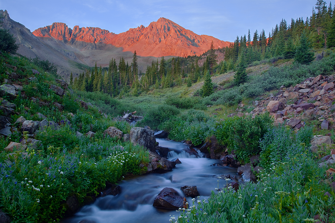 (MB-10018)  Along Pine Creek at sunrise - Maroon Bells-Snowmass Wilderness.