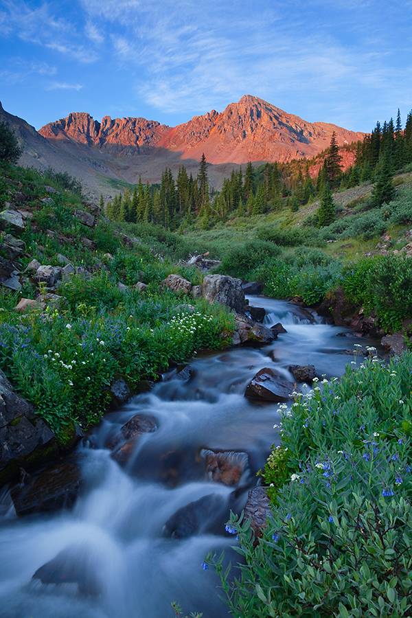 (MB-100025-27)  Sunrise at Pine Creek in Maroon Bells-Snowmass Wilderness.