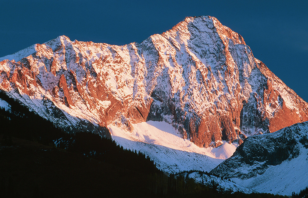 (H026) Evening light on 14,130' Capitol Peak in the Elk Mountains.