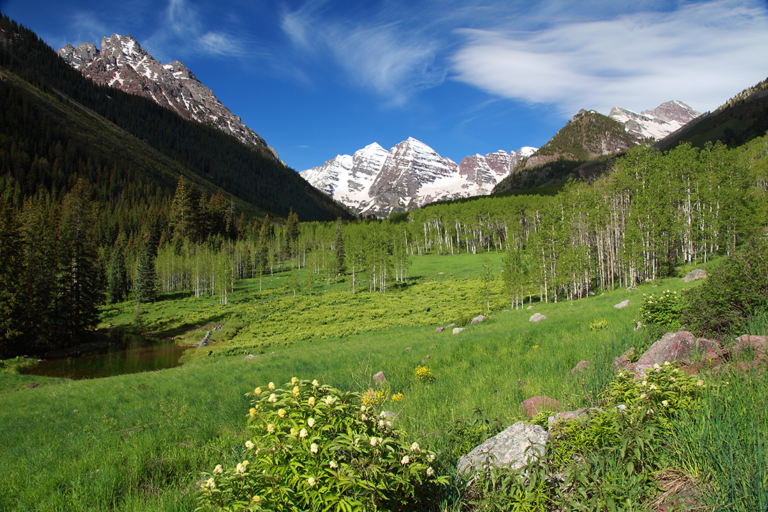 (MB-09059)  Springtime pastoral view of the Maroon Bells