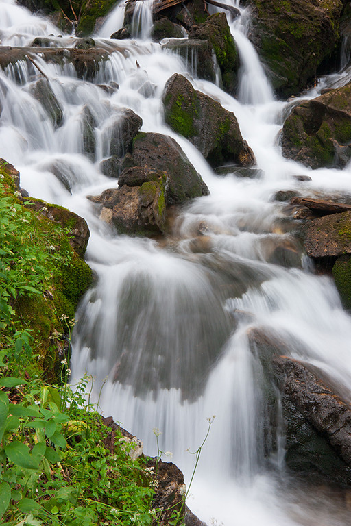(WC-08049)  Small creek cascades toward the South Fork of the Crystal River in Gunnison National Forest.