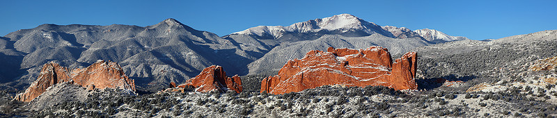 Pikes Peak and Garden of the Gods Winter Panorama 1