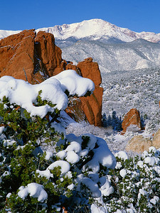 Pikes Peak and Garden of the Gods - Winter  (F010)