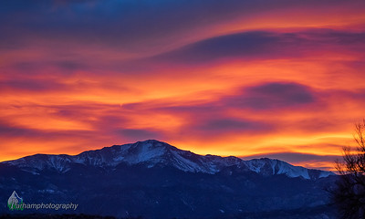 Pikes Peak and Winter Sunset Sky (PP-20110)