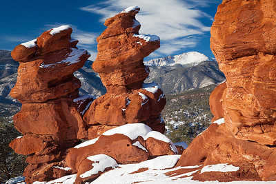 (PP-11010) Siamese Twins in Garden of the Gods frame distant Pikes Peak