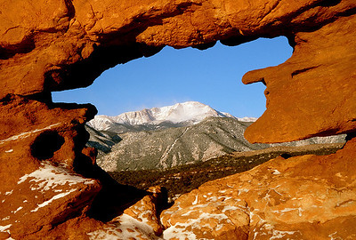 (F003)  Siamese Twins window view of Pikes Peak - Garden of the Gods