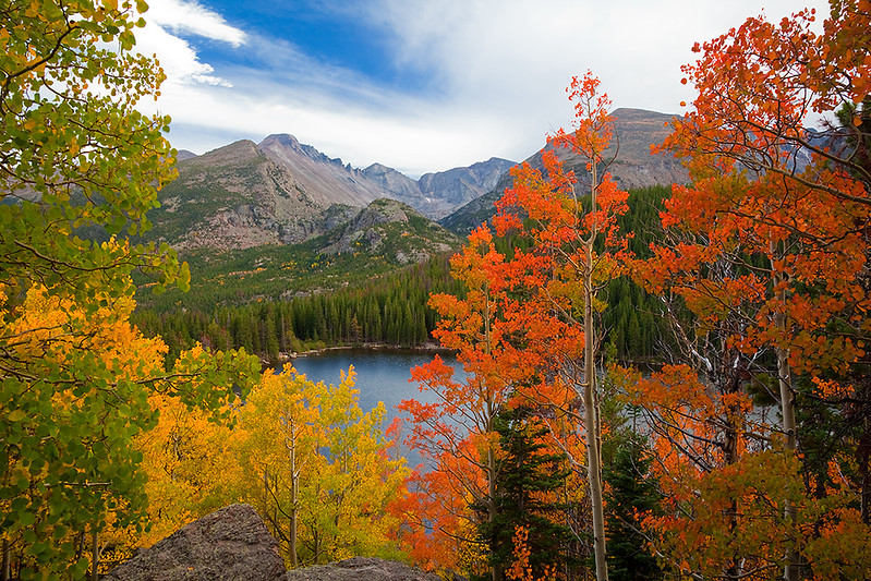 (RM-10005)  Autumn aspens and Longs Peak above Bear Lake