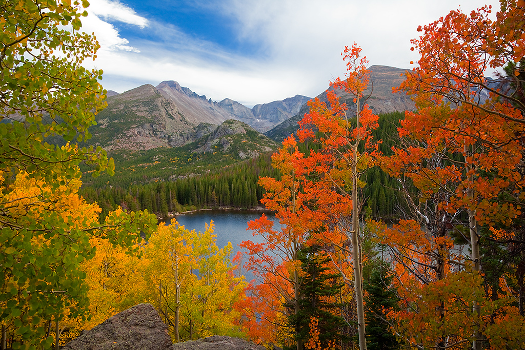 (RM-10005)  Autumn aspens and Longs Peak above Bear Lake