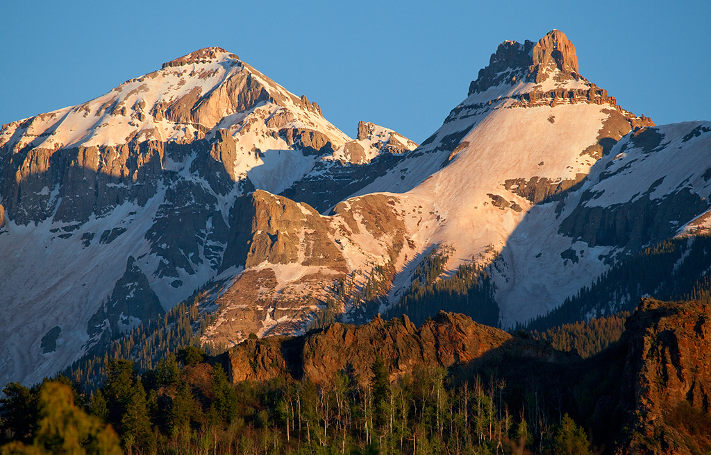 (SN-10037)  Pre-sunset light on Whitehouse Mountain and Mount Ridgway - Sneffels Range.