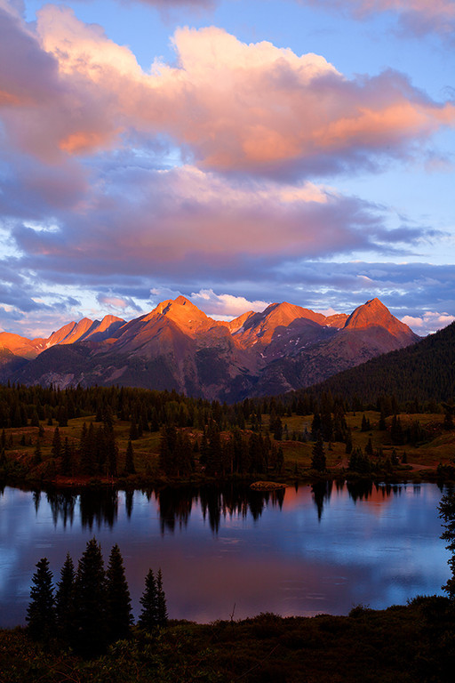 (MG-9255)  Molas Lake and the Grenadier Range at sunset.