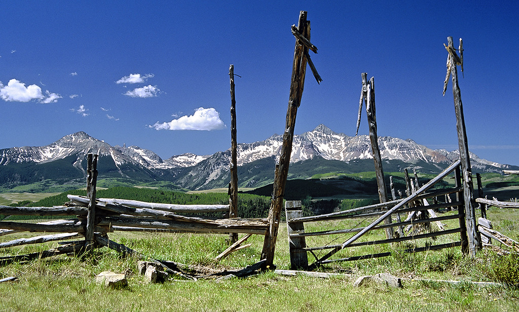 (G007)  Rustic view of Wilson Peak and the San Miguel Range